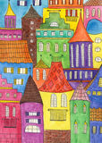 Fairytale town drawing Royalty Free Stock Images