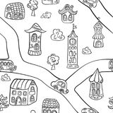 Fairytale town. Houses, towers, castles and road. Seamless pattern in doodle and cartoon style. Vector. EPS 8 vector illustration