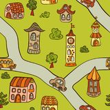 Fairytale town. Houses, towers, castles and road. Seamless pattern in doodle and cartoon style. Vector. EPS 8 stock illustration