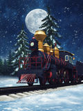 Fairytale train at night. Colorful fairytale train in a winter forest at night Royalty Free Stock Images