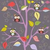 Fairytale tree with owls vector illustration