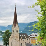 Fairytale village Hallstatt in Austria. Hallstatt is a small Austrian municipality at Hallstätter See in the state of Upper Austria. Main industries are salt royalty free stock image