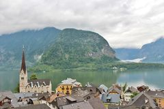 Fairytale village Hallstatt in Austria. Hallstatt is a small Austrian municipality at Hallstätter See in the state of Upper Austria. Main industries are salt royalty free stock images