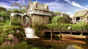 Fairytale watermill. Fairytale scenery with watermill, pond and boat Stock Images