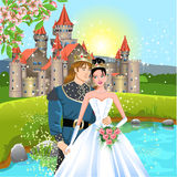 Fairytale wedding. Vector illustration of fairutale wedding in a romantic background Royalty Free Stock Images