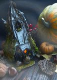 Fairytale witch house decoration with pumpkins and mist Stock Photos