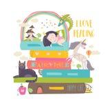 Fairytaleconcept met boek, eenhoorn, draak, prinses en middeleeuws kasteel vector illustratie