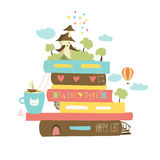 Fairytaleconcept met boek en middeleeuws kasteel vector illustratie