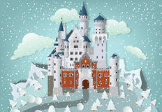 Fairytalekasteel in de winter vector illustratie