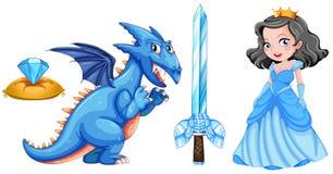 Fairytales met prinses en draak wordt geplaatst die Stock Afbeelding