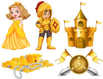 Fairytales set with knight and princess Royalty Free Stock Photos