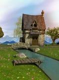 Fairytalewatermolen met zijn natuurlijke omgeving stock foto