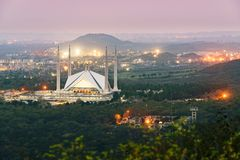 Night scene Shah Faisal Mosque Islamabad Royalty Free Stock Photo