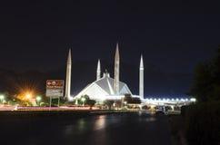 Faisal Mosque a Islamabad alla notte Fotografia Stock