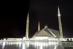 Faisal Mosque in Islamabad at night. Royalty Free Stock Image