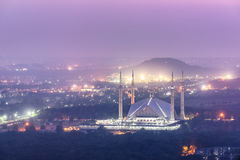 Faisal Mosque Islamabad Pakistan. Aerial view of Faisal Mosque from Margalla hiss in Islamabad  Pakistan Royalty Free Stock Photography