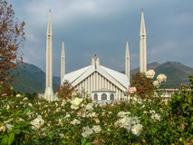 Faisal Mosque Islamabad Pakistan. NFaisal Mosque is one of the best looking Mosques of the world having capacity of 200.000 including the surrounding areas Royalty Free Stock Photo