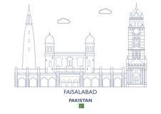 Faisalabad stadshorisont, Pakistan Arkivfoto