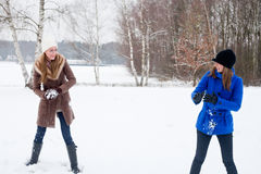 Faisant boule de neige ma soeur Photographie stock