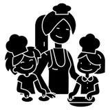 Faisant cuire la femme avec des enfants - icône de famille de boulangerie, illustration de vecteur illustration de vecteur