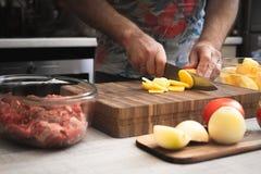 Faisant cuire la viande cuite au four avec des pommes de terre horizontales Image libre de droits