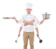 Faisant cuire le concept - jeune homme dans l'uniforme de chef avec se tenir de 6 mains Photos stock