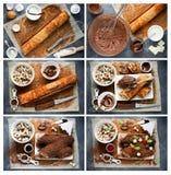 Faisant cuire le gâteau de Yule Log de Noël décoré du houx m de chocolat image stock