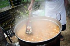Faisant cuire le repas de haricot, la viande cuite et les légumes i Images stock