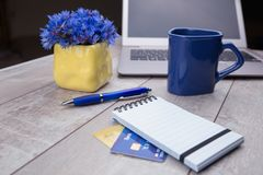 Faisant des emplettes en ligne, carte de crédit, ordinateur portable image stock