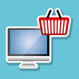 Faisant des emplettes en ligne et conception d'ordinateur, illustration de vecteur, illustration de vecteur Photographie stock libre de droits