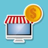 Faisant des emplettes en ligne et conception d'ordinateur, illustration de vecteur, illustration de vecteur Photo stock
