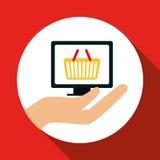 Faisant des emplettes en ligne et conception d'ordinateur, illustration de vecteur, illustration de vecteur Photo libre de droits