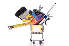 Faisant des emplettes quelques outils de construction Photographie stock