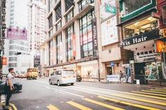 Faisant des emplettes sur la baie de chaussée en Hong Kong, la Chine Images libres de droits