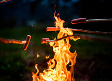 Faisant et faisant cuire des saucisses de hot-dog au-dessus du feu ouvert de camp photo stock