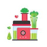 Faisant le jus et le smoothie verts fond coloré d'appareils de cuisine de mélangeur Photo stock
