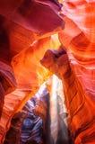 Faisceau lumineux fantomatique au canyon d'antilope Photo libre de droits