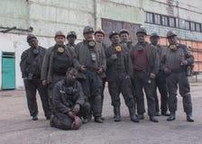 Faisceau rouge, Ukraine - 7 août 2013 : Mineurs la mine Krasnokutsk Photographie stock