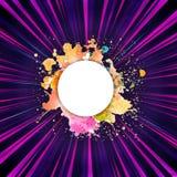 Faisceaux de lumière colorés abstraits avec un cadre artistique multicolore pour un texte illustration stock