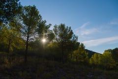 Faisceaux ensoleillés et montagnes espagnoles Photos stock
