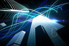 Faisceaux lumineux bleus au-dessus des gratte-ciel Photo stock