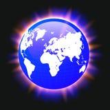 Faisceaux lumineux colorés bleus de carte de la terre et du monde de planète, vecteur illustration stock