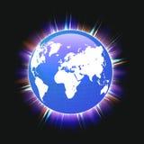 Faisceaux lumineux colorés bleus de carte de la terre et du monde de planète, vecteur illustration libre de droits