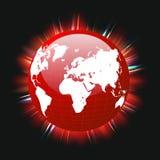 Faisceaux lumineux colorés rouges de carte de la terre et du monde de planète, vecteur, ENV illustration libre de droits