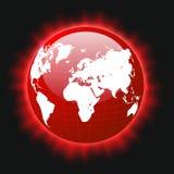 Faisceaux lumineux colorés rouges de carte de la terre et du monde de planète, vecteur, ENV illustration stock