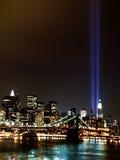 Faisceaux lumineux de World Trade Center 9 / 11 Photographie stock libre de droits