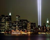 Faisceaux lumineux de World Trade Center 9-11 Image libre de droits