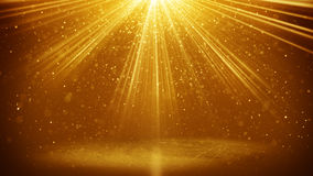 Faisceaux lumineux et fond d'or d'abstarct de particules Images libres de droits