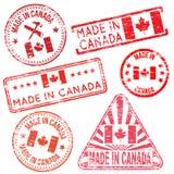 Fait dans des tampons en caoutchouc de Canada Image stock