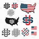 Fait dans l'ensemble de vecteur de monogramme des Etats-Unis Conception de logo de l'Amérique de vintage Les rétros Etats-Unis sc illustration de vecteur